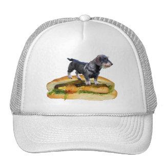 Dog on hot dog trucker hat