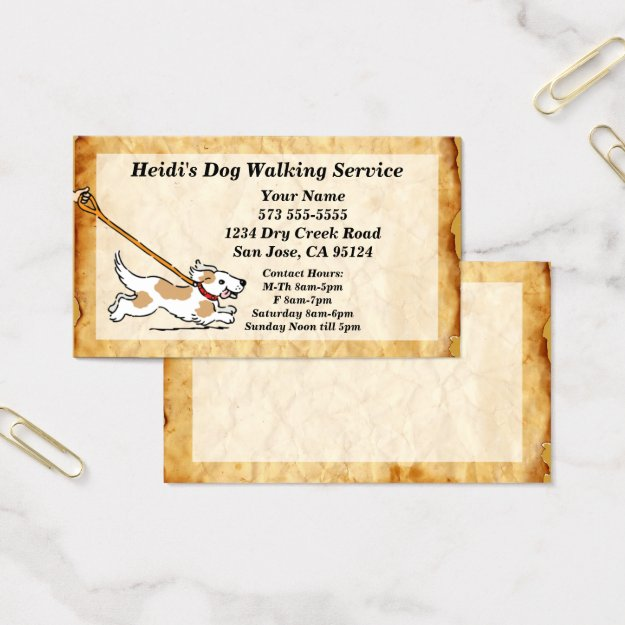 Dog on Leash Dog Walking Service Business Card