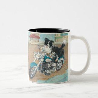 Dog on Motorcycle Two-Tone Coffee Mug