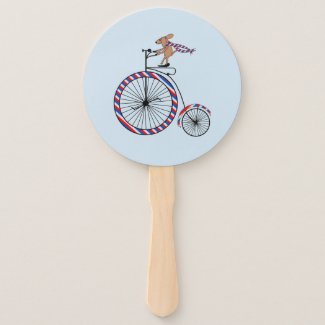 Dog on Old Fashioned Bike Hand Fan