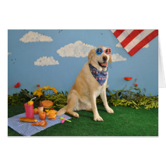 Dog on picnic, American flag Greeting Card