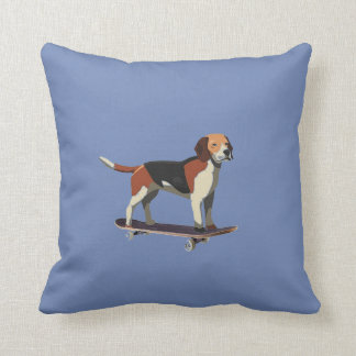 Dog on Skateboard, Denim Pillow