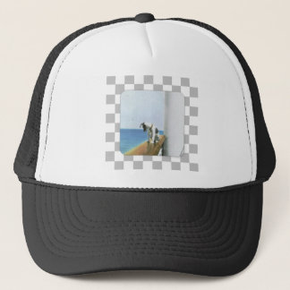 Dog On Steamship/ Checked Background Trucker Hat