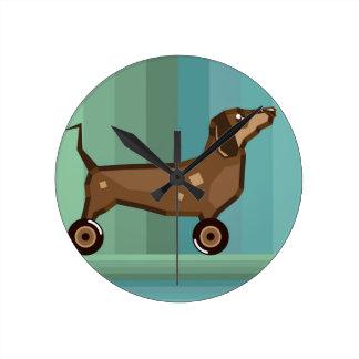 Dog on Wheels Round Clock
