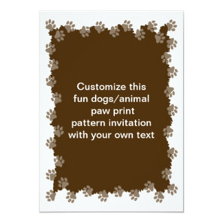 Dog or cat animal paw print edged card