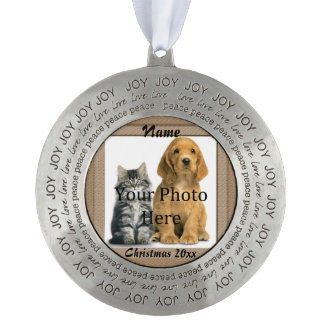 Dog or Cat Beige Perfect Memories Tribute Round Pewter Christmas Ornament