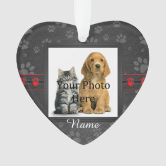 Dog or Cat Custom Gray Paw Prints Memorial Ornament