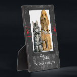 """Dog or Cat Custom Gray Paw Prints Memorial Plaque<br><div class=""""desc"""">A beautiful keepsake memorial for you dog or cat. Design features a square frame for your photo, as well as a place for the name and a special phrase. The template background is made to look like material and is made in a silvery gray color. It also features gray paw...</div>"""
