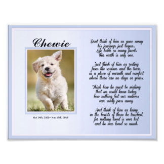 Dog or Cat Male Pet Memorial with Poem Photo Print