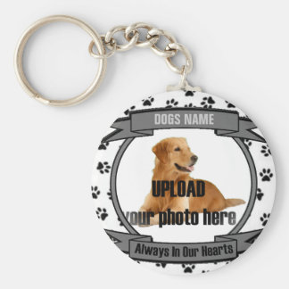 Dog or Cat Memorial Always In Our Hearts Basic Round Button Keychain
