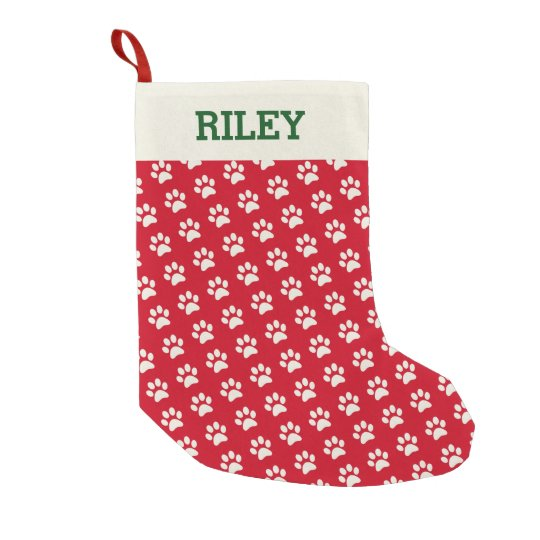 Dog Or Cat Name Red Paw Print Personalized Xmas Small Christmas Stocking