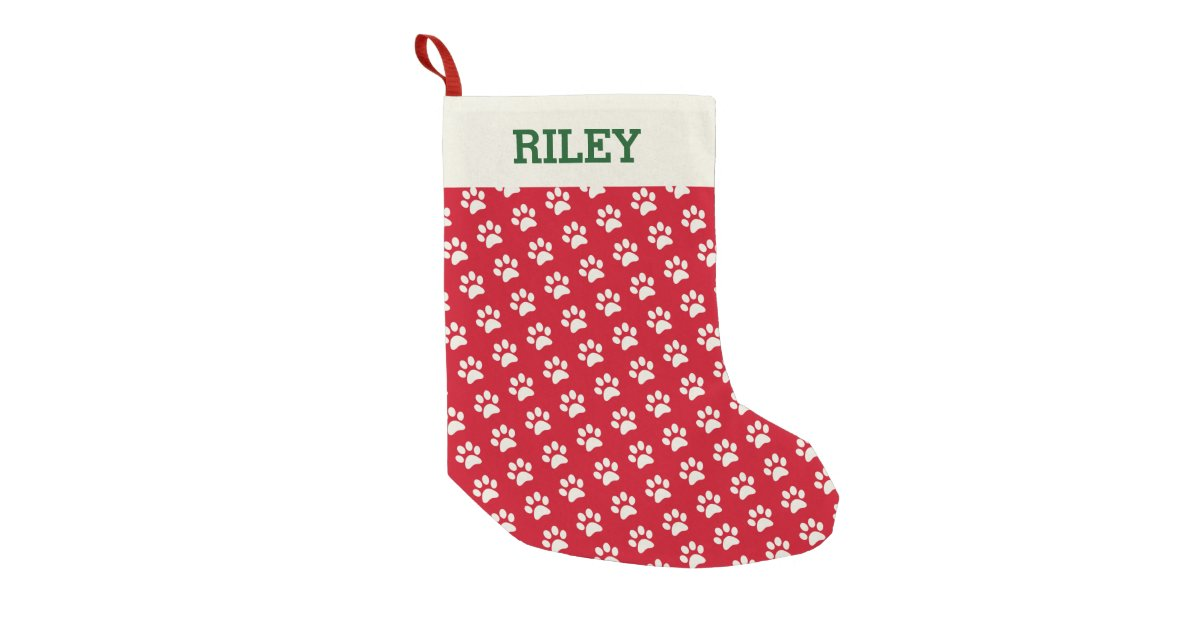 dog or cat name red paw print personalized xmas small christmas stocking zazzlecom - Small Christmas Stockings
