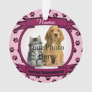 Dog or Cat Pink Memorial Forever Remembered Ornament