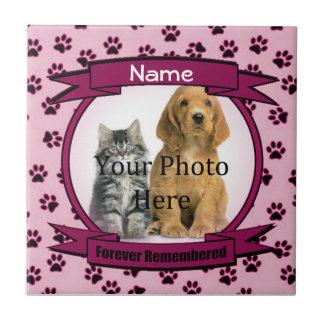 Dog or Cat Pink Memorial Forever Remembered Tile