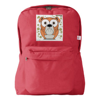 Dog (Orange) Backpack, Red American Apparel™ Backpack
