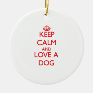Dog Double-Sided Ceramic Round Christmas Ornament