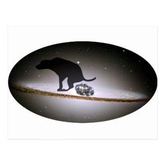 Dog p. over Galaxy Postcard