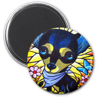 DOG PAINTING ART CHIHUAHUA - MULTI 2 INCH ROUND MAGNET