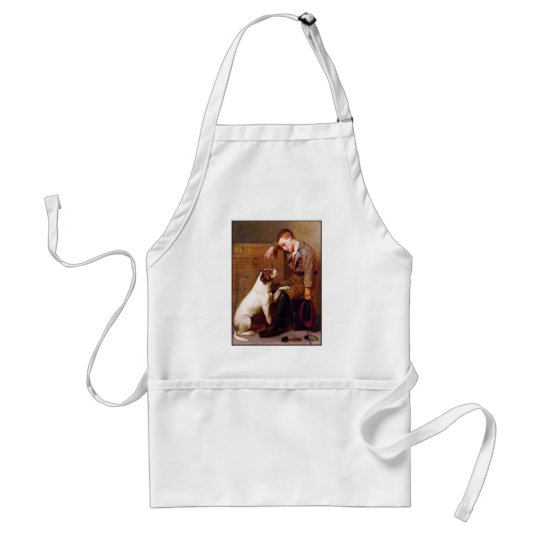 Dog Painting: Best Friends by John Brown Adult Apron