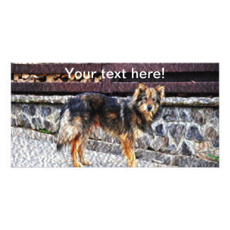 Dog painting photo greeting card
