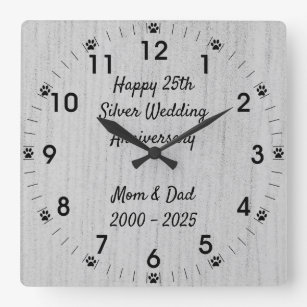 Dog Paw 25th Silver Wedding Anniversary Square Wall Clock