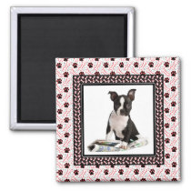 Dog Paw and Bone Pet Photo Template Magnet