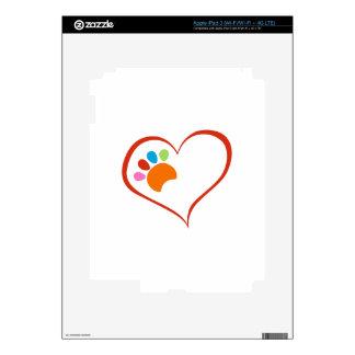 Dog Paw And Heart iPad 3 Decal