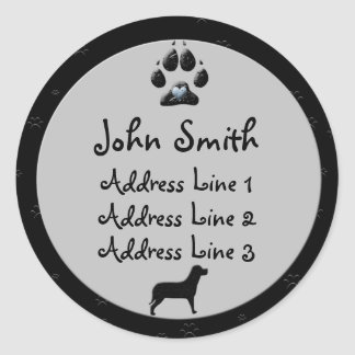 Dog Paw Black and Grey Business  Address Labels Classic Round Sticker