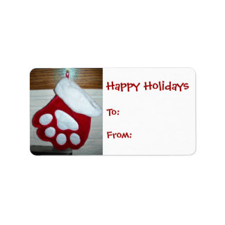 Dog Paw Christmas Stocking Personalized Address Labels