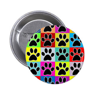 dog paw coloured pinback button