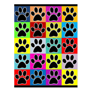dog paw coloured post card