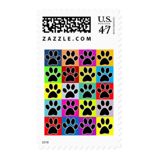 dog paw coloured stamp