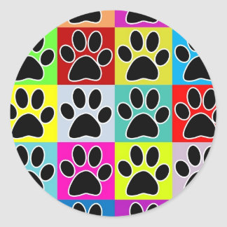 dog paw coloured classic round sticker