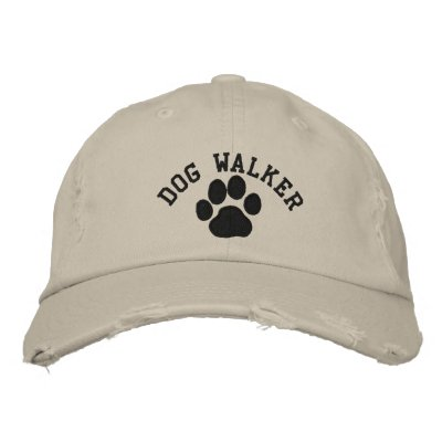 Dog Paw Dog Walker with Customizable Text Embroidered Baseball Cap