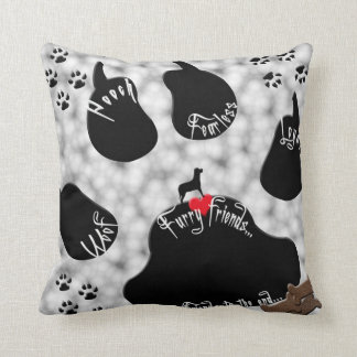 Dog Paw Furry Friends Throw Pillows