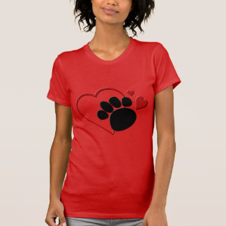Dog Paw Hearts I Love My Dog Red Fine Jersey T-Shirt