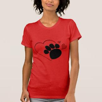 Dog Paw Hearts I Love My Dog Red Fine Jersey T-shirts