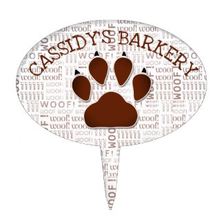 Dog Paw in Brown for Pet Bakery with Business Name Cake Topper