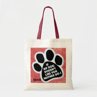 Dog paw on cotton tote bag
