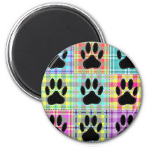 Dog Paw Pattern Quilt Magnet
