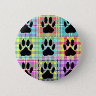 Dog Paw Pattern Quilt Pinback Button