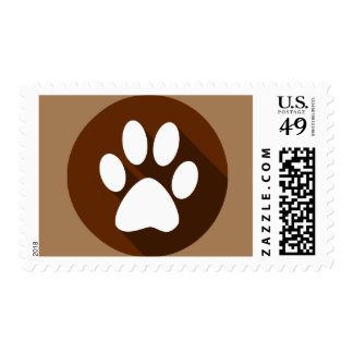 Dog paw postage stamp