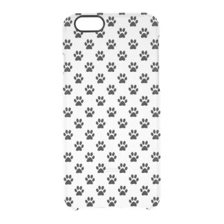 Dog Paw Print Black White Background Metallic Faux Clear iPhone 6/6S Case
