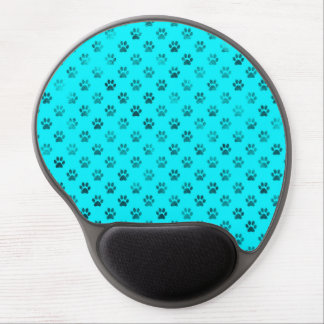 Dog Paw Print Blue Teal Aqua Background Metallic Gel Mouse Pad