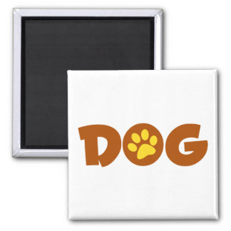 DOG PAW PRINT BROWNS YELLOWS CAUSES ANIMALS PETS 2 INCH SQUARE MAGNET