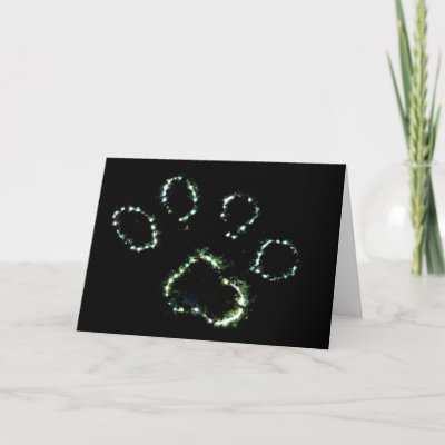 Dog Paw Print Canine Christmas Greeting Card Art from Zazzle.com