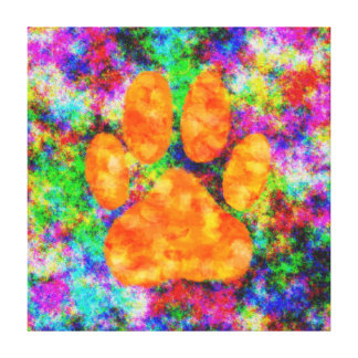 Dog Paw Print Digital Watercolor Stretched Canvas Print