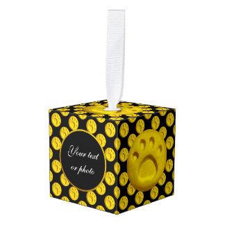 Dog paw print dots - Yellow Cube Ornament