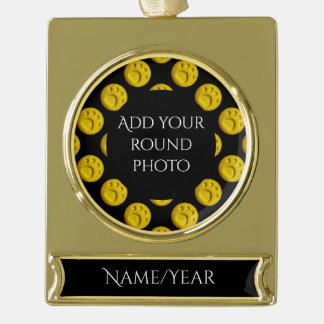 Dog paw print dots - Yellow Gold Plated Banner Ornament