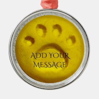 Dog paw print dots - Yellow Metal Ornament